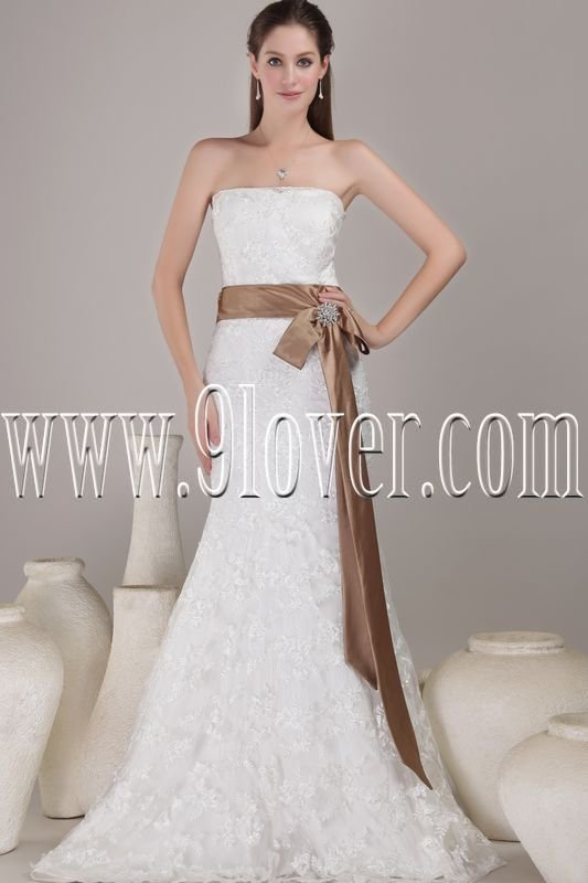 affordable strapless a-line floor length lace wedding dress IMG-4537