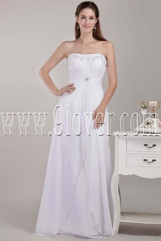 exclusive white chiffon strapless a-line floor length casual beach wedding dress IMG-4661