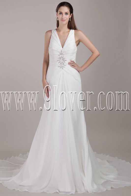 modern v-neck halter style a-line floor length chiffon wedding dress IMG-4789