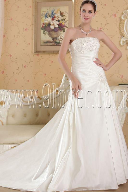 inexpensive strapless satin a-line floor length wedding dress IMG-4831