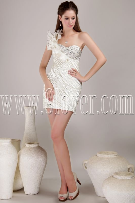 sexy one shoulder a-line mini length cocktail dress IMG-4449