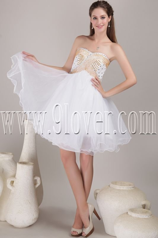 modern and chic white tulle sweetheart a-line knee length cocktail dress IMG-4493