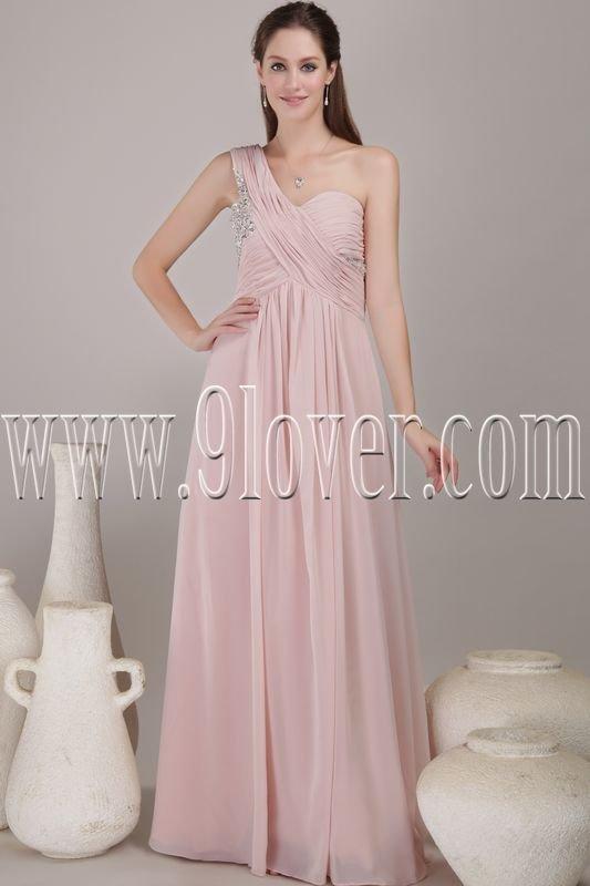 exclusive pink chiffon one shoulder column floor length evening dress IMG-4554