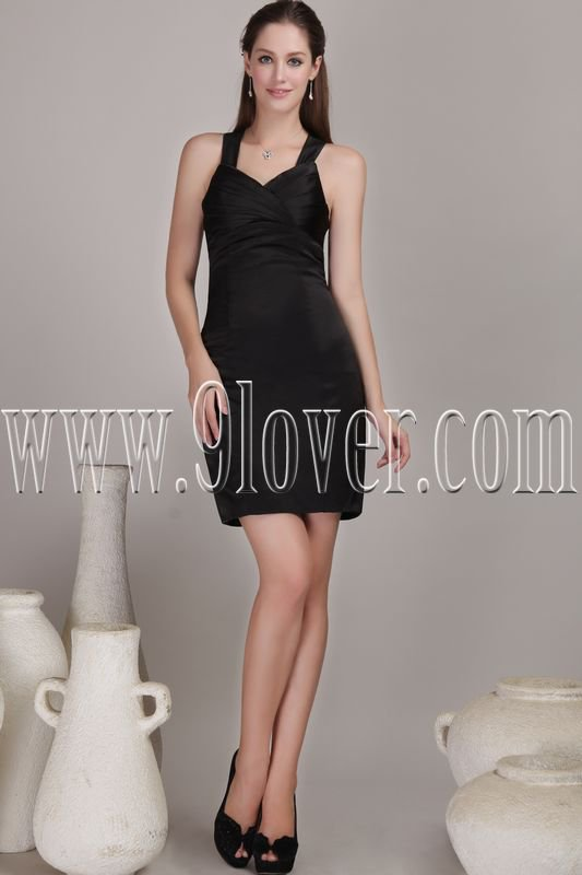 modern and sexy black satin straps a-line mini length cocktail dress IMG-4598