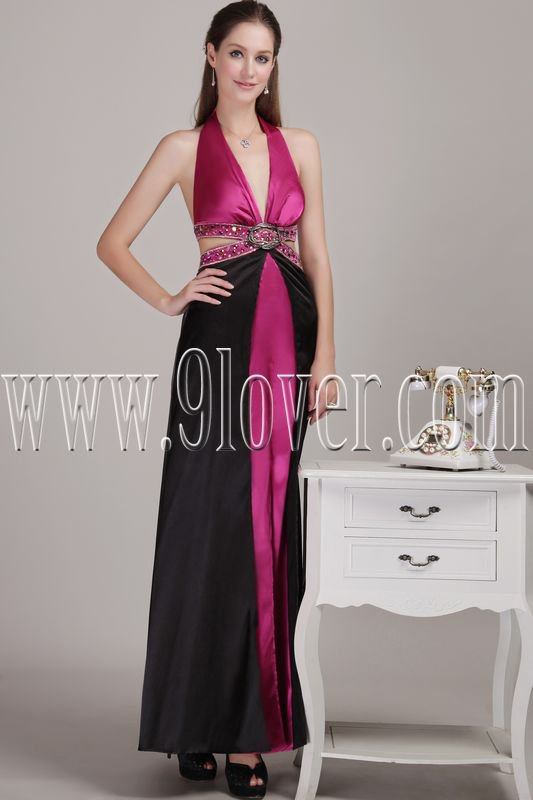 modern black and fuchsia satin halter a-line floor length evening dress IMG-4608