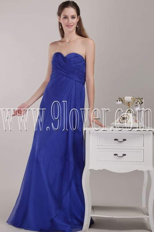 stunning royal blue chiffon strapless a-line floor length formal evening dress IMG-4618