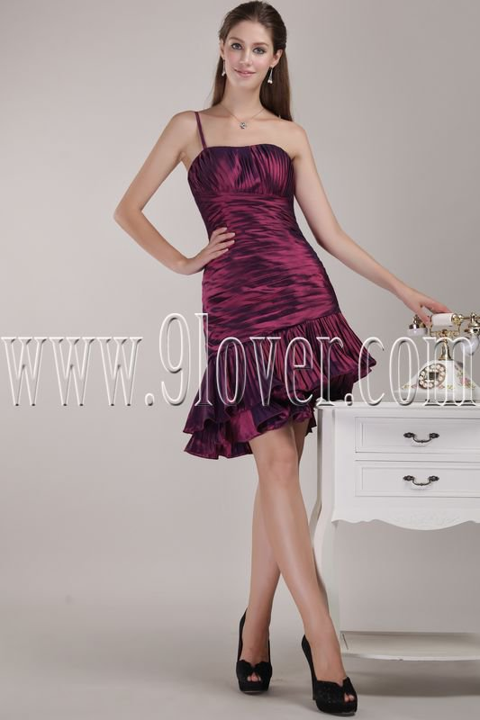 modern burgundy satin one shoulder a-line mini length homecoming dress IMG-4625