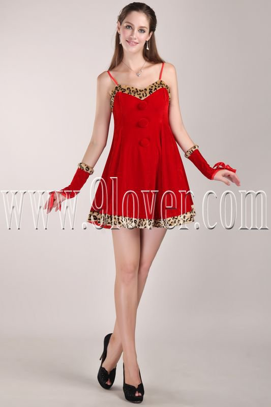 attractive red velvet spaghetti straps a-line mini length cocktail dress IMG-4642