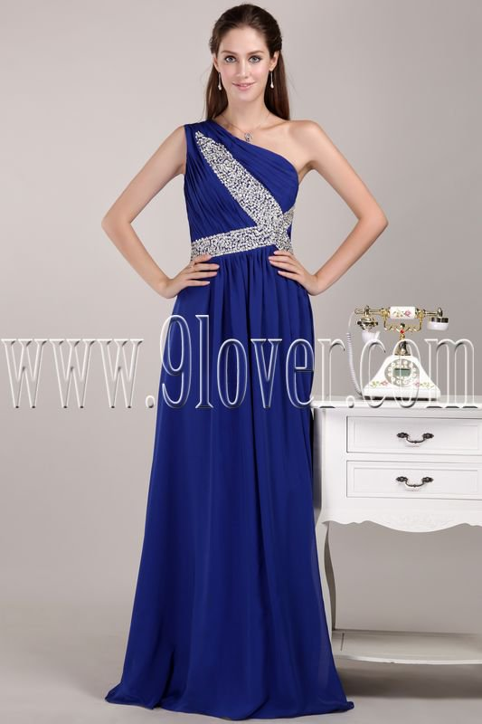 stunning royal blue chiffon one shoulder a-line floor length formal evening gowns IMG-4706