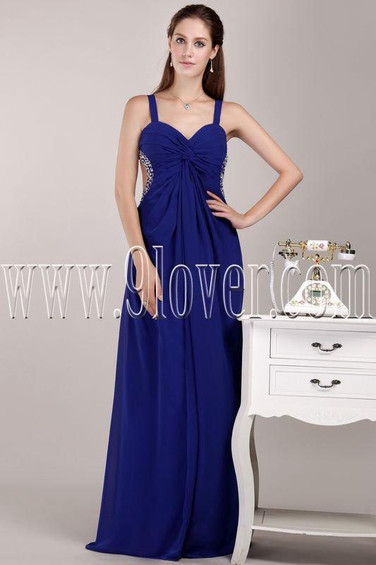 stunning royal blue chiffon straps a-line floor length formal evening dress IMG-4714