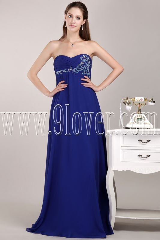 exclusive royal blue chiffon sweetheart empire floor length prom dress IMG-4724