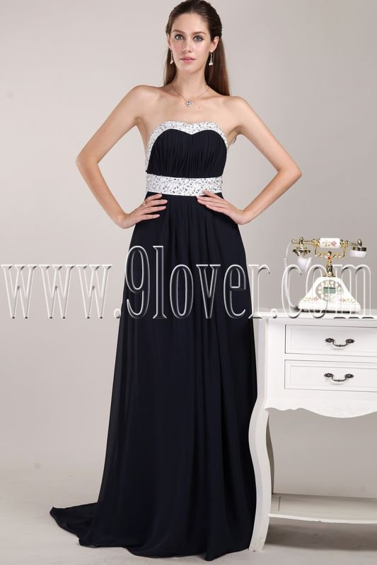 modest black chiffon shallow sweetheart a-line floor length prom dress IMG-4742