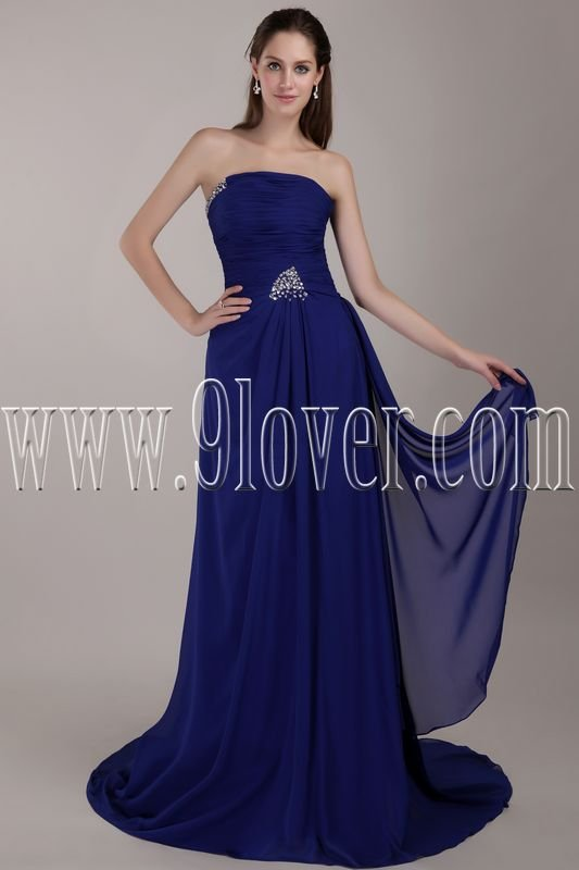 a-line strapless royal blue floor length formal evening dress IMG-4796