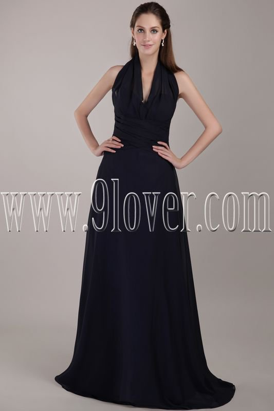 halter black chiffon a-line floor length formal evening gowns IMG-4806