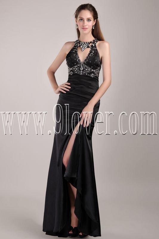 a-line black satin halter a-line floor length informal evening dress IMG-4815