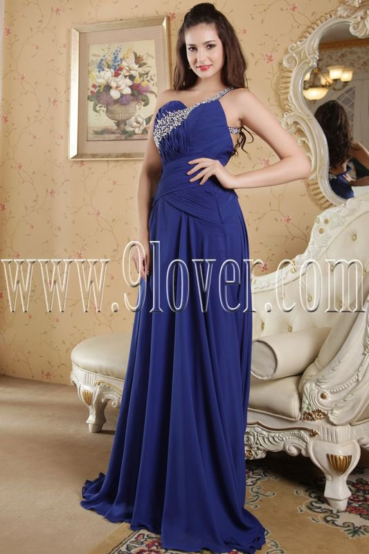 one shoulder royal blue chiffon a-line floor length formal evening dress IMG-5173