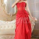 red taffeta strapless column floor length long prom dress IMG-5225