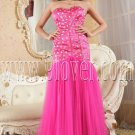 luxurious fuchsia tulle sweetheart column prom dress IMG-5246