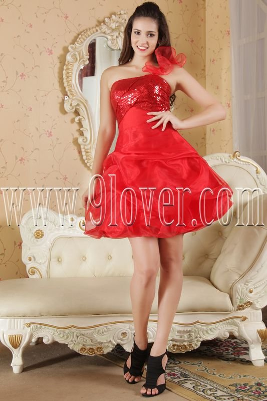 modern red organza one shoulder a-line mini length cocktail dress IMG-5276