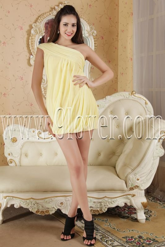 daffodil chiffon one shoulder mini length cocktail dress IMG-5287