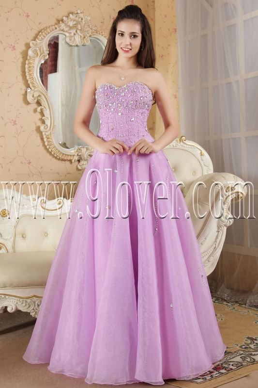 charming lavender organza sweetheart a-line floor length long prom dress IMG-5307
