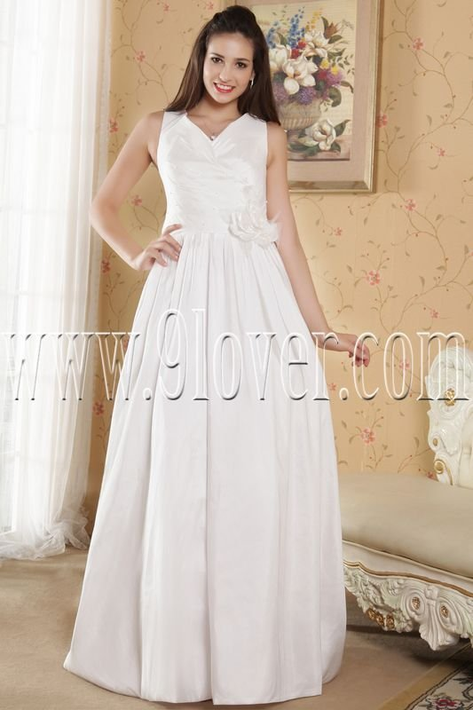 stunning v-neck a-line floor length plus size wedding dress IMG-5319