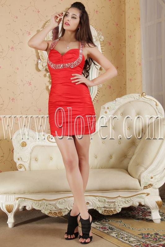 modern red satin halter a-line mini length cocktail dress IMG-5332