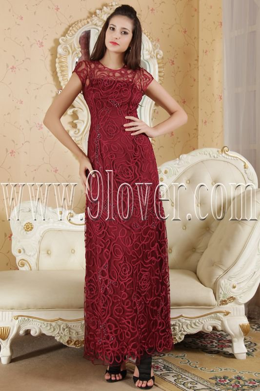 burgundy lace short sleeves a-line ankle length prom dress IMG-5342
