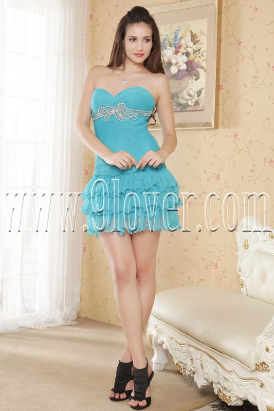 sky blue chiffon sweetheart sheath mini length cocktail dress IMG-5372