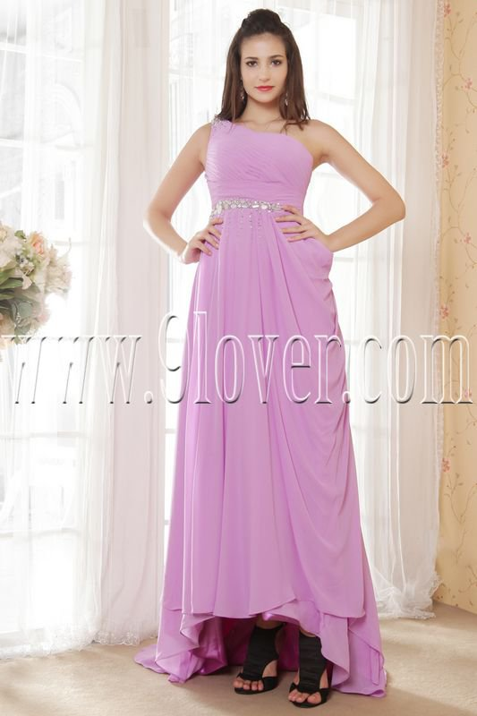 charming lavender chiffon one shoulder a-line floor length prom dress IMG-5390