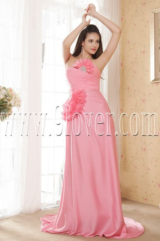 water melon satin strapless a-line floor length formal evening dress IMG-5399