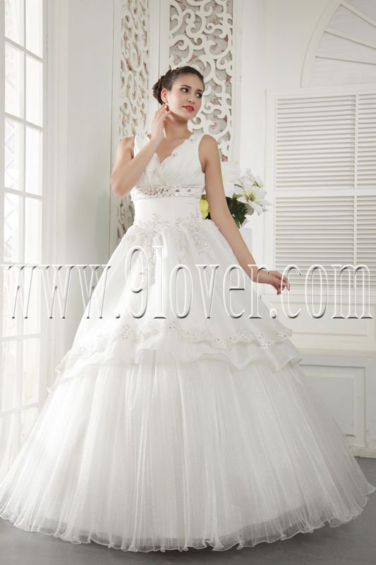 classic white tulle v-neck ball gown floor length wedding dress IMG-5415