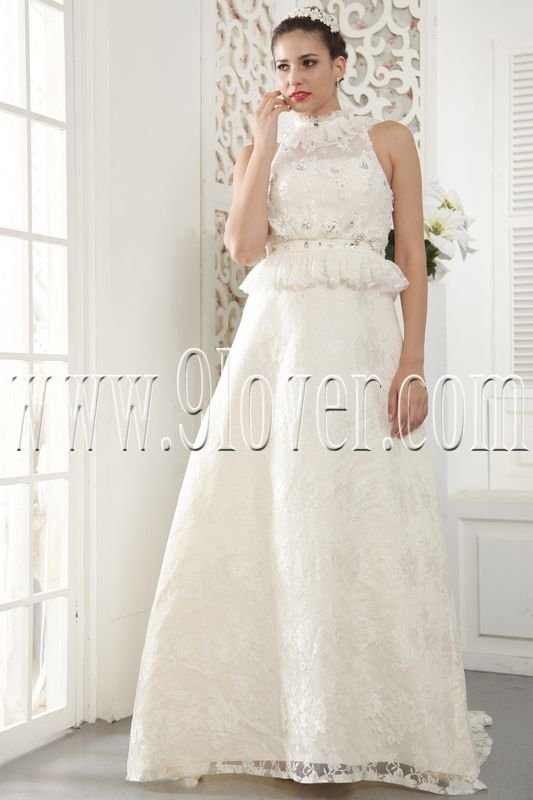2013 vintage ivory lace a-line floor length wedding dress with peplum IMG-5440