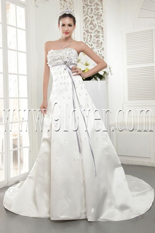 stunning white satin strapless a-line floor length wedding dress IMG-5491