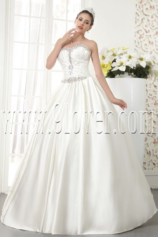 classic white satin sweetheart ball gown floor length plus size wedding dress IMG-5521