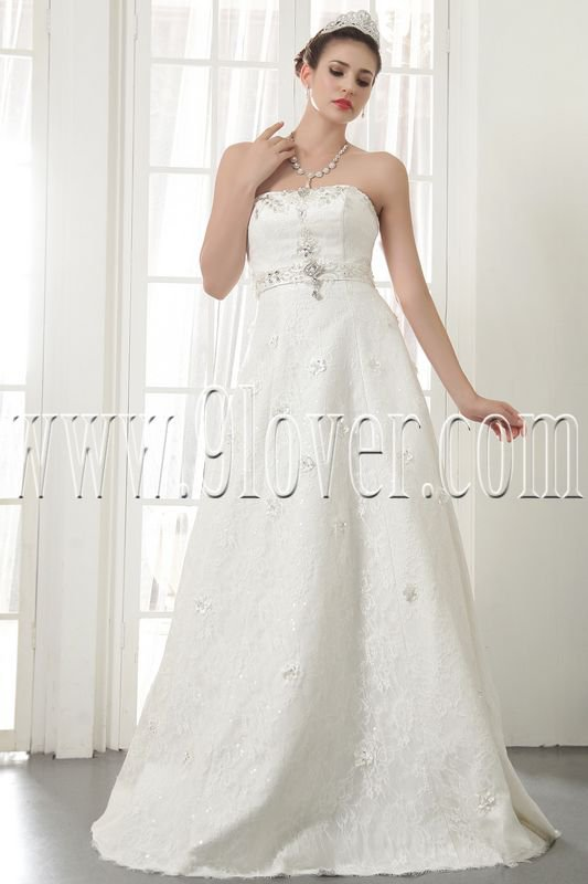 exclusive white lace strapless a-line floor length lace wedding dress IMG-5532