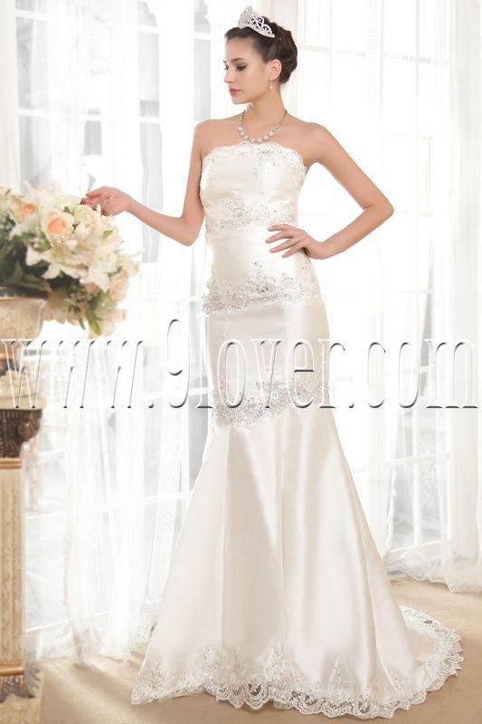 modern satin strapless a-line floor length wedding dress IMG-5554