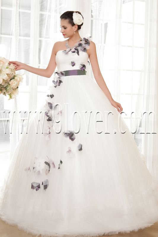 fairy tale one shoulder ball gown floor length wedding dress IMG-5592