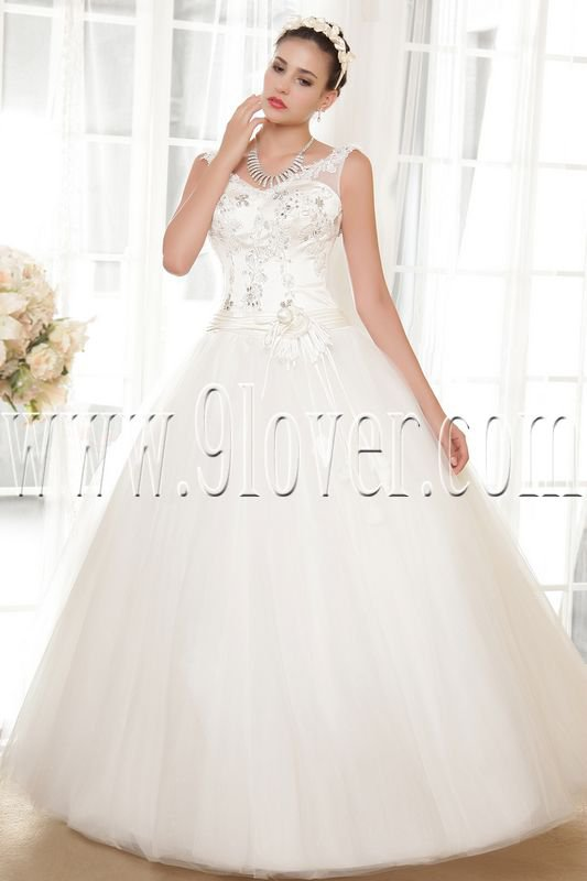 exclusive v-neck ball gown floor length tulle wedding dress IMG-5663