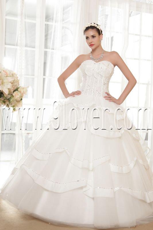luxurious white tulle sweetheart ball gown floor length wedding dress IMG-5676