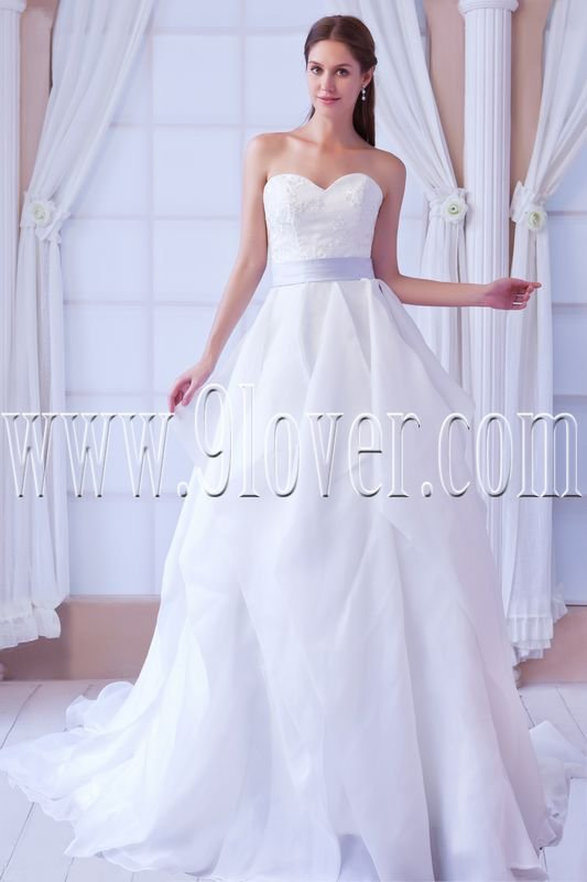 classic white organza sweetheart a-line floor length wedding dress with sash IMG-8371