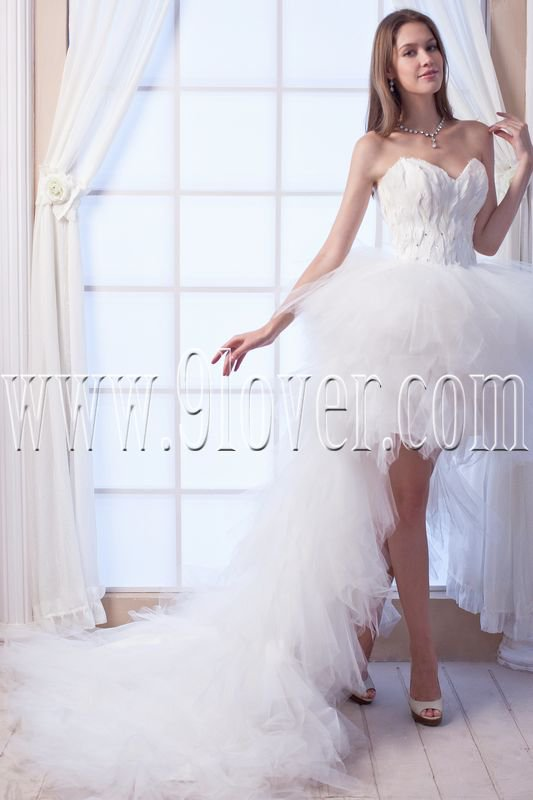 modern and chic white tulle sweetheart mini length wedding dress IMG-0035