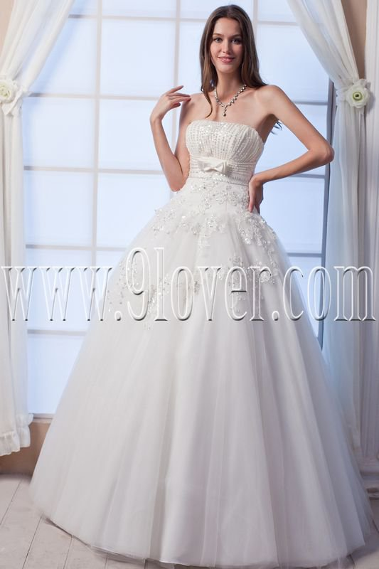 classic strapless tulle ball gown floor length wedding dress beaded IMG-0065