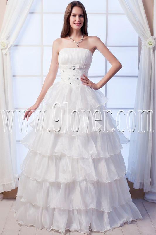 flattering strapless organza a-line floor length wedding dress with ruffles skirt IMG-0126