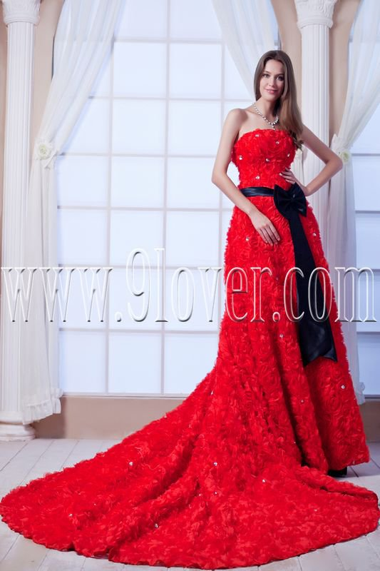 attractive red tulle strapless a-line floor length prom dress IMG-0175
