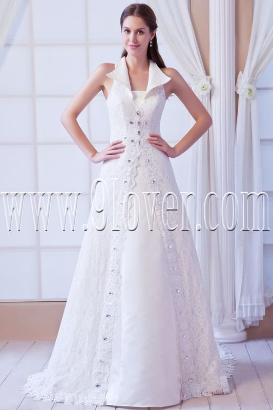 vintage and retro halter lace a-line floor length wedding dress IMG-8323