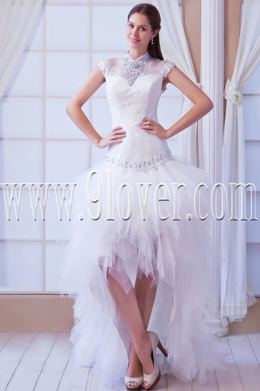 modern high neck a-line short sleeves knee length wedding dress with brush train IMG-8338