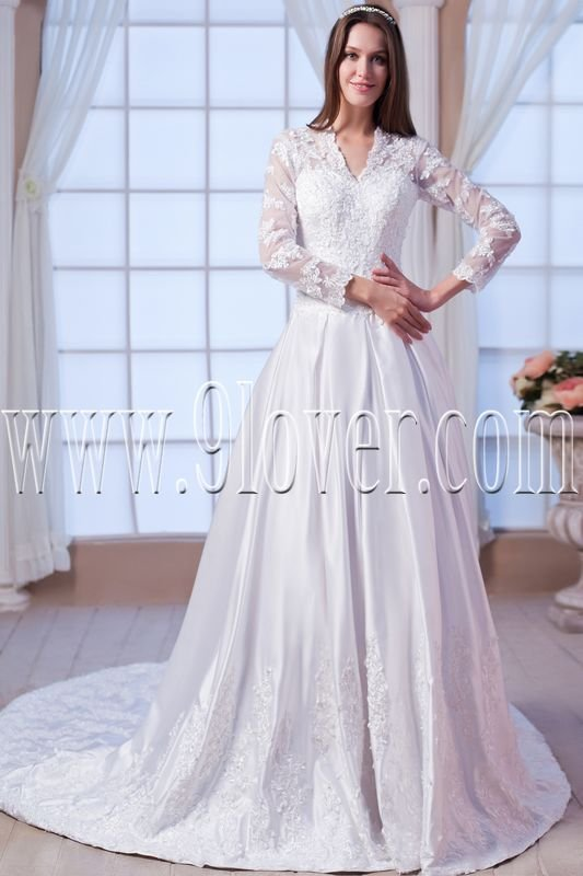modest satin long sleeves a-line floor length muslim wedding dress IMG-7597