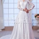 modest satin long sleeves a-line floor length muslim wedding dress IMG-7597