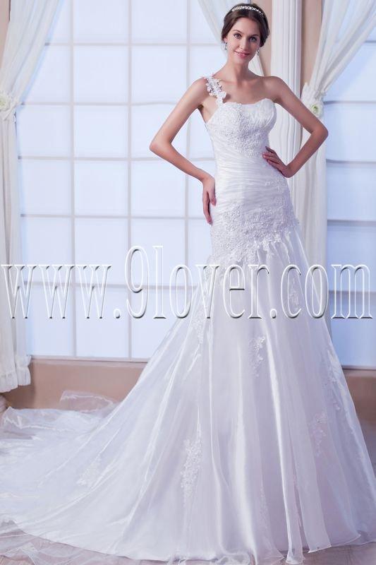 vintage one shoulder asymmetrical trumpet mermaid wedding dress IMG-7728